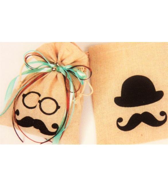 Μπομπονιέρα πουγκί μουστάκι/καπέλο!