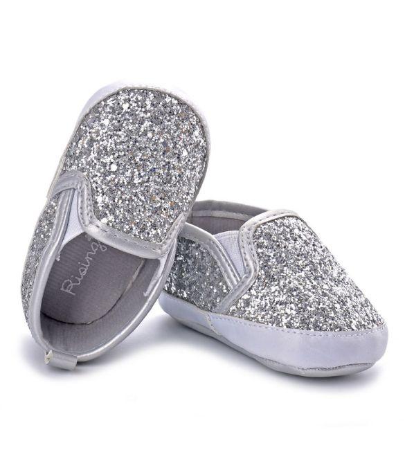 Παπουτσάκια ασημί glitter!