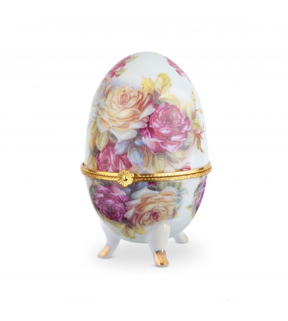 Πορσελάνινο αυγό-μπιζουτιέρα με λουλούδια.
