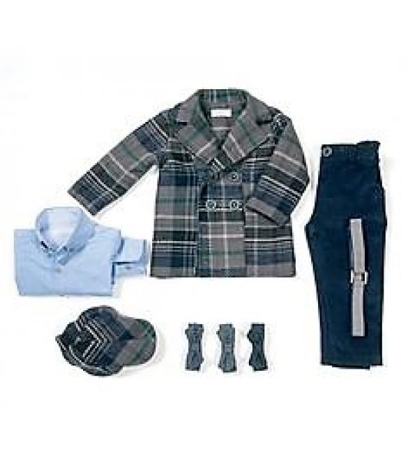 2d5aa1d68a1 Sale Βαπτιστικό ρούχο για αγόρι της Angel Wings με παλτό καρό.