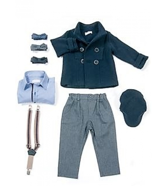 e54033076f0 Sale Βαπτιστικό ρούχο για αγόρι της Angel Wings με παλτό ναυτικό.
