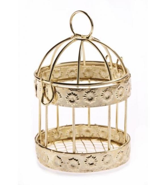 Μπομπονιέρα χρυσό κλουβί.
